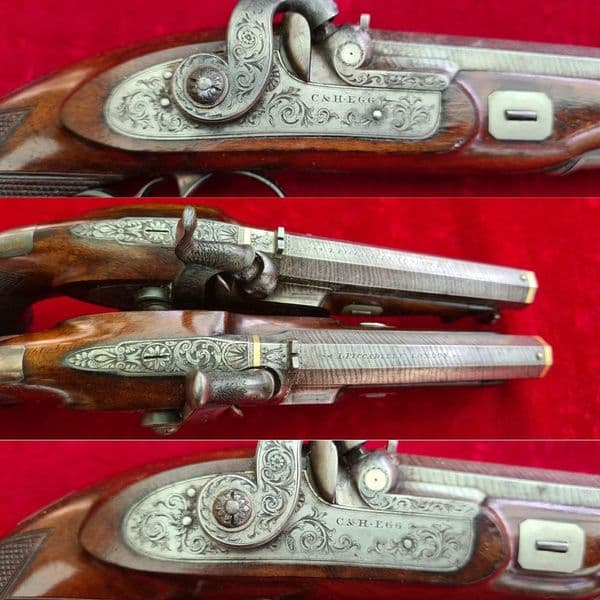 A very fine cased pair of .36 cal percussion pistols by Charles & Henry EGG. Ref 7795.